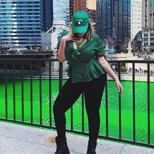 Who What Wear silky green blouse!